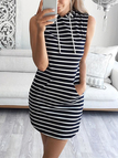 Stripe Sleeveless Hoodie Mini Dress