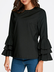 Black Round Neck Flared Sleeves Blouse
