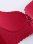 Plus Size Red Lace-Up Front Hollow Out Gather Wireless Bra