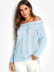 Blue Cable Knit Off The Shoulder Long Sleeves Sweater