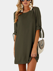 Army Green Self-tie at Sleeves Mini Dress