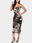 See-through Bodycon Mesh Dress with Floral Print Pattern