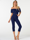 Navy Off-The-Shoulder Ruffle Design Two Piece Outfits
