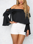 Black Off-shoulder Tie Side Lantern Sleeves Sexy Style Top With Asymmetrical Hem