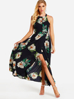 Halter Neck Open Back Random Floral Print Maxi Dress in Navy