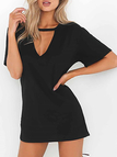 Black Cut Out Short Sleeves Loose Fit Dress