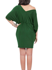 Green One Shoulder V-neck Bat Sleeves Drawstring Waist Dress