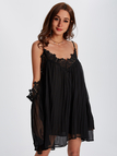 Black Lace Trim Cold Shoulder Flared Sleeves Tiered Dress