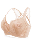 Plus Size Nude Embroidery Gather Push Up Convertible Straps Wire Bra