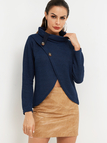 Blue Crossed Front Design Plain Roll Neck Long Sleeves Sweaters