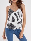 Black V-neck Cami with White Geometrical Pattern