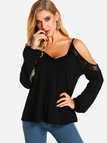 Black Backless Cold Shoulder Design Long Sleeves Blouses With Lace Insert