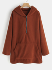 Brown Zipper Design Plain Long Sleeves Hoodie