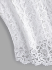 Plus Size White Hollow Out Lace Round Neck Tank