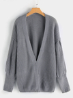 Grey Open Front Plain Long Lantern Sleeves Sweater Coat
