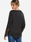 Black V-neck Wrap Cross Front Long Sleeved with Lace Cuffs Top