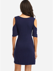 Navy Cold Shoulder V-neck Mini Dress
