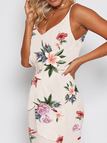 Random Red Floral Print Cami Dress with Middle Waist