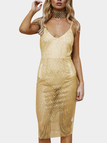 Gold Sequins Embellished Deep V-neck Sleeves Sheer Fake Two Pieces Dress