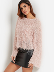 Dust Pink Crew Neck Bell Sleeve Paneled Stylish Sherpa Jumper Sweaters