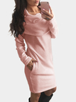 Pink Side Pockets Roll Neck Long Sleeves Casual Dress