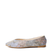 Beige Stitching Knitted Pu Pointed Toe Flats