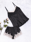 Black V-neck Lace Insert Sleeveless Pajamas Set