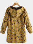 Yellow Hooded Design Floral Print Long Sleeves Fluffy Lining Coat