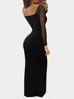 Black Sexy Deep V Zipper Front Backless Split Hem Dress