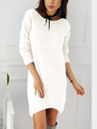 White Round Neck Long Sleeves Casual Dress