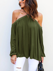 Army Green Sexy Halter Neck Long Sleeves Blouse