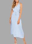 Sleeveless Back Lace-up Side Split Beach Maxi Dress In Skyblue