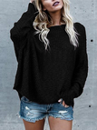Black Off The Shoulder Long Sleeves Loose Plunge Sweaters