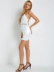 White Halter Dress With Lace Insert Detail