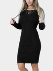 Black Lace-up Design Long Sleeves Knee Length Dress