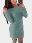 Green Dyed Artificial Fur Round Neck Long Sleeves Mini Dress