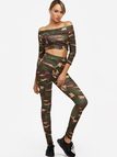 Camo Off The Shoulder Long Sleeves Two Piece Outfits