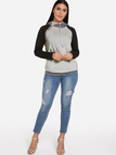 Color Block Zip Long Sleeves Stitching Hoodie With Pockets