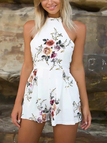 White Random Floral Print Halter Backless Playsuit