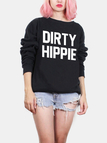 Black Letter Pattern Round Neck Long Sleeves Sweatshirt