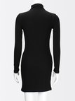 Black Long Sleeves Button Embellished Dress