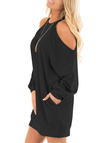 Black Cold Shoulder Long Sleeves Sweatshirt Dress