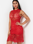 Red Sexy Lace Hollow Mini Dress