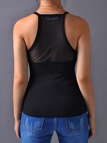 Black Round Neck Mesh Design Top