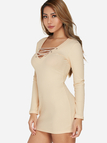 Beige Lace-up Design V-neck Long Sleeves Sexy Ribbed Dress