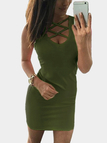 Army Green Lace-up Design Sleeveless Sexy Dress