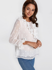 White Flouncy Details Round Neck Long Sleeves Blouses