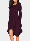 Purple Two Pockets Round Neck Irregular Dress