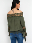 Army Green Hollow Design Plain Off The Shoulder Long Sleeves Blouse