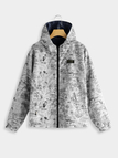 Navy Hooded Design Zip Front Closure Long Sleeves Coat With Slip Pockets
